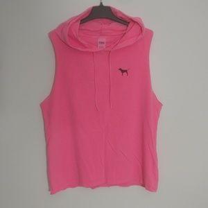 PINK Victoria's Secret sleeveless hoodie tank L